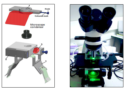FLUOLED® Easy (fig. on left) on a transmitted light microscope: the LED fluorescence module is designed to attach to a standard bright field microscope and is used in transmission mode.